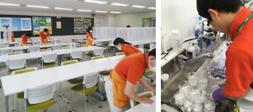 Cafeteria cleaning and washing laboratory ware